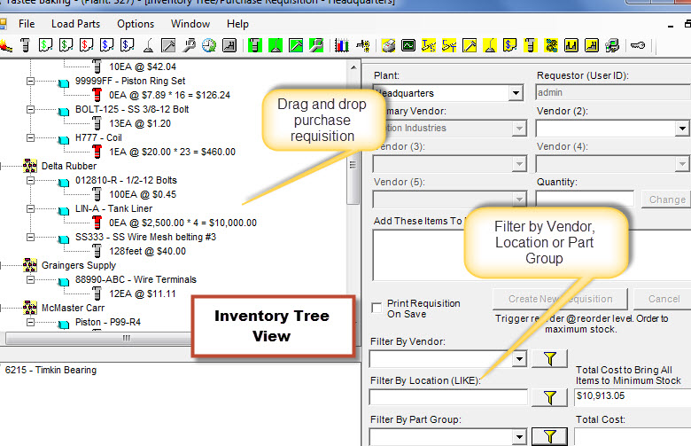 CMMS Inventory Software Treeview | Maintenance Management